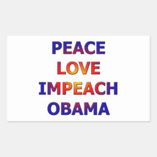 Peace Love Impeach Obama Rectangle Stickers