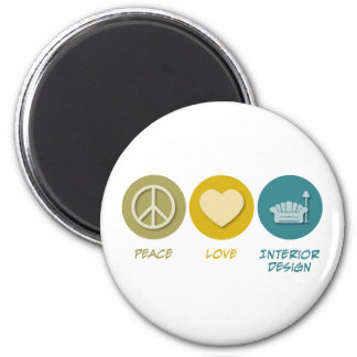 Peace Love Interior Design 6 Cm Round Magnet