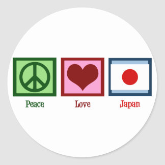 Peace Love Japan Classic Round Sticker