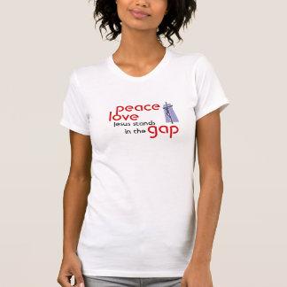 peace, love, Jesus standsin the gap T-Shirt