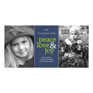 Peace Love & Joy - 2 Photos Blue and Green Customised Photo Card