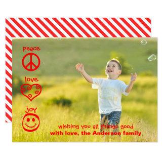 Peace, Love, Joy - 3x5 Christmas Card