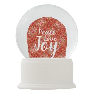 Peace Love Joy Angel Pattern Orange Red White Snow Globe