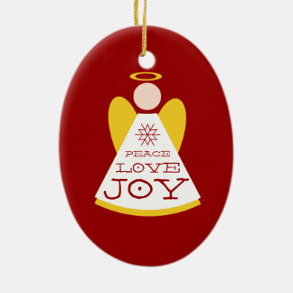 Peace Love Joy Angel Red Christmas Ceramic Oval Decoration