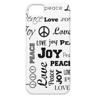Peace Love Joy Black and White iPhone 5/5S Cases