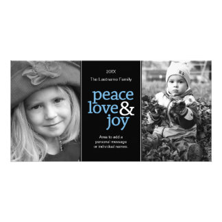 Peace Love & Joy - Black Blue 2 Photos Photo Greeting Card