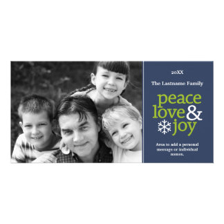 Peace Love & Joy - Blue and Green Picture Card