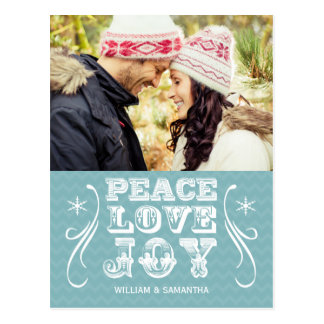Peace Love Joy Blue Chevron Holiday Postcard