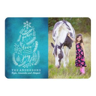 Peace Love Joy | Blue Holiday Photo Card 13 Cm X 18 Cm Invitation Card