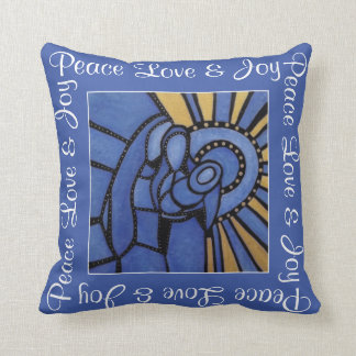 Peace Love Joy Blue Holy Family Christmas Cushion