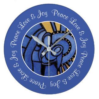 Peace Love Joy Blue Holy Family Christmas Large Clock