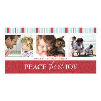 Peace Love Joy Blue & Red Holiday Photo Collage Custom Photo Card