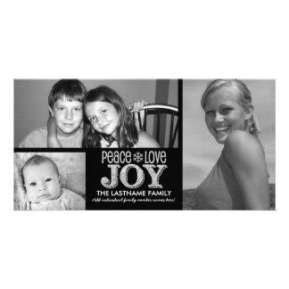 Peace Love Joy Chalkboard - 3 photos Custom Photo Card