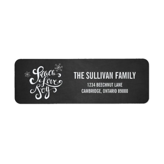 Peace, Love & Joy Chalkboard Holiday Address Label