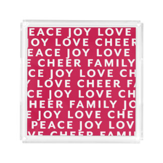 Peace Love Joy Cheer Holiday Acrylic Tray