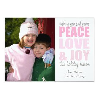 "Peace Love & Joy Christmas Cards (Pink) 5"" X 7"" Invitation Card"