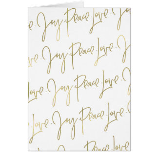 Peace Love Joy Christmas Greeting Card | Gold