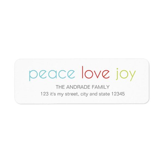 Peace Love Joy Christmas Holiday Blue Red Green Return Address Label