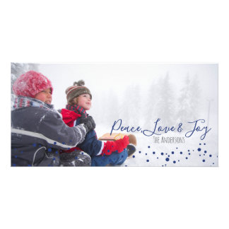 Peace, Love & Joy Christmas or Hanukkah Photocard Card