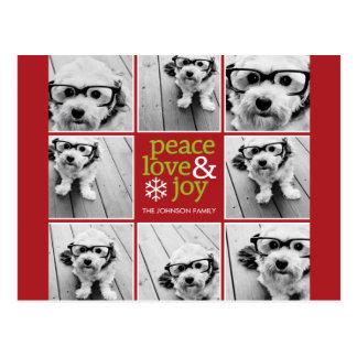 Peace Love Joy Christmas Photo Collage Postcard