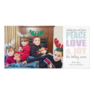 Peace Love & Joy Christmas Photocards Photo Greeting Card