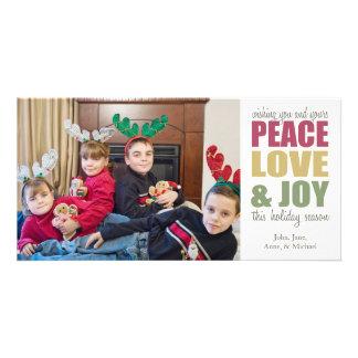 Peace Love & Joy Christmas Photocards Customized Photo Card
