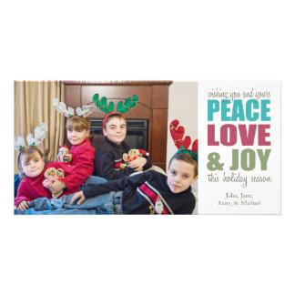 Peace Love & Joy Christmas Photocards Photo Card Template