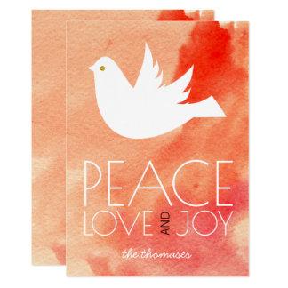 Peace, love, joy coral watercolor & dove Christmas Card