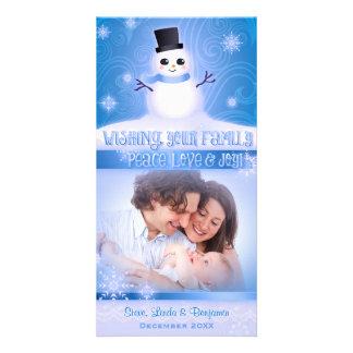 """Peace, Love & Joy"": Cute Snowman Blue Photo Cards"