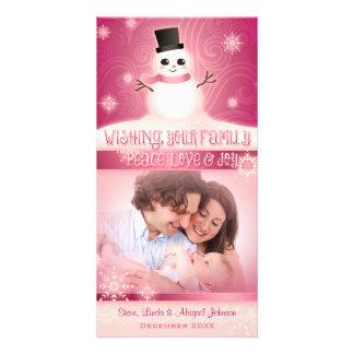"""Peace, Love & Joy"": Cute Snowman Pink Photo Card Template"