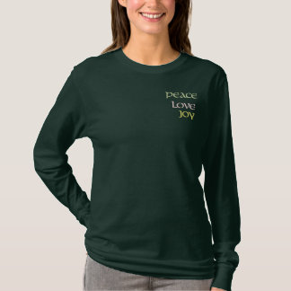 Peace,Love, Joy Embroidered Long Sleeve T-Shirt