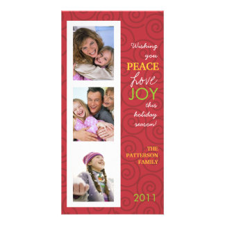 Peace Love Joy Festive Swirl Photo Collage in Red Customised Photo Card