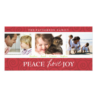 Peace Love Joy Festive Swirl Photo Collage in Red Photo Cards