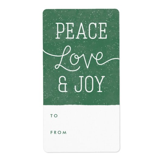 Peace Love & Joy Gift Tag Label - Pine Shipping Label
