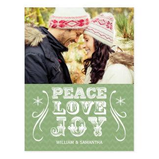 Peace Love Joy Green Chevron Holiday Postcard