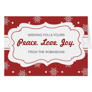 Peace Love Joy Greeting Card