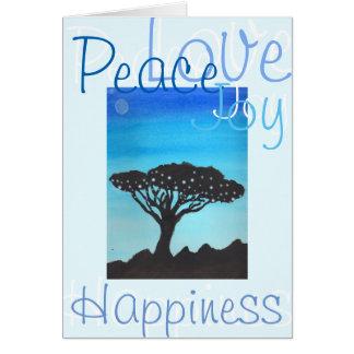 Peace, Love, Joy, & Happiness Acacia Tree Card