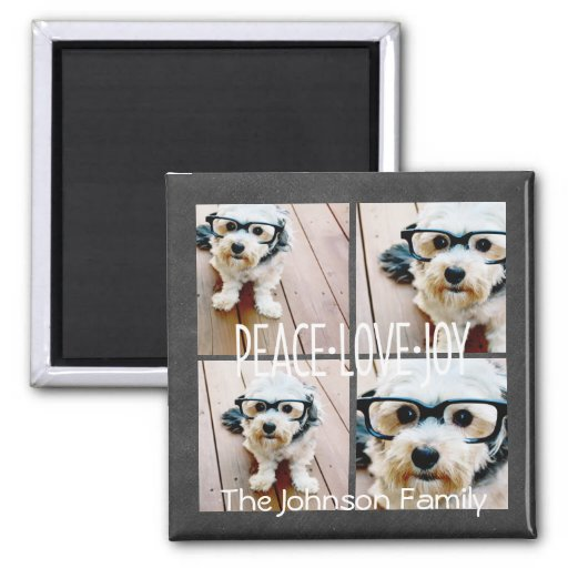 Peace Love Joy Holiday Chalkboard Photo Collage Magnet