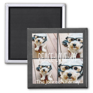 Peace Love Joy Holiday Chalkboard Photo Collage Square Magnet