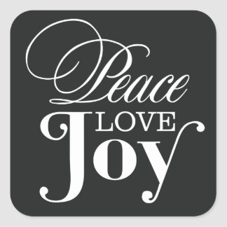 PEACE LOVE JOY | HOLIDAY ENVELOPE SEAL SQUARE STICKER