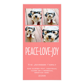 Peace Love Joy Holiday photo collage Coral Photo Cards