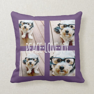 Peace Love Joy - Holiday Photo Collage Purple Cushion