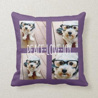 Peace Love Joy - Holiday Photo Collage Purple Cushions