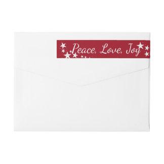 Peace Love Joy Holiday Stars Red and White Wraparound Return Address Label