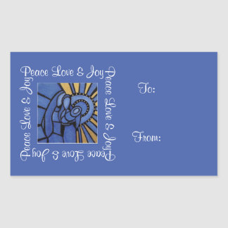 Peace Love Joy Holy Family Blue Christmas To  From Rectangular Sticker