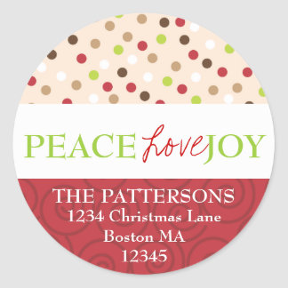 Peace Love Joy Polka Dots Address Label Round Sticker