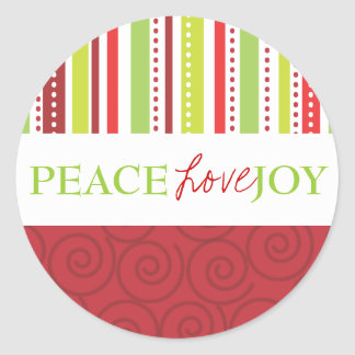 Peace Love Joy Polka Dots & Stripes in Red Round Sticker