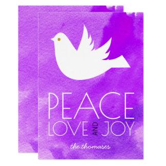 Peace love joy purple watercolor & dove Christmas Card