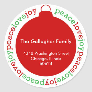 Peace love joy red custom Christmas address label Round Sticker