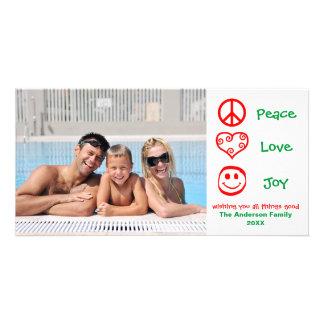 Peace, Love, Joy Red/Green - Photocard Customised Photo Card